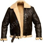 Men Bomber Shearling Real Sheepskin Leather Jacket