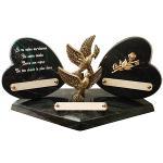 Plaque Funéraire 2 coeurs et bronze
