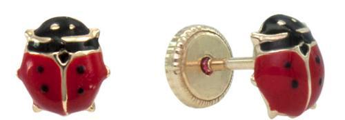 Gold ladybird stud earring