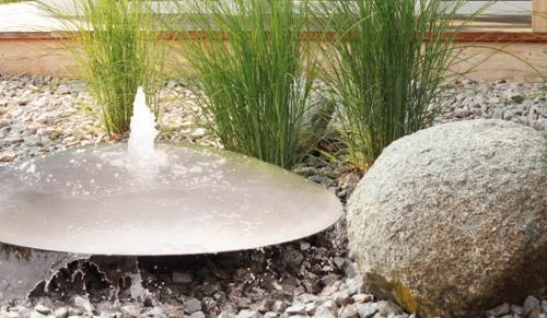 Fountain water bowl corten steel RIVA overflowing