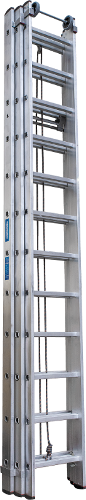 Three-section rope-operated rung ladder NV 5250