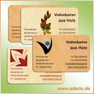 Visitenkarten Aus Holz Echte Holzvisitenkarten Adario