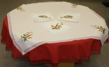 Natural  linen tablecloths  with lace and embroidery
