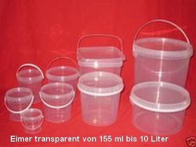 Eimer transparent  mit Deckel 155 ml bis 10 Liter
