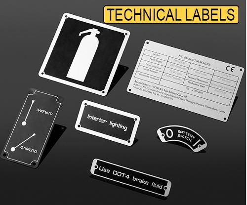 Anodized aluminum technical labels