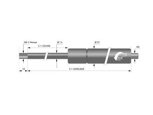 RESSORT A GAZ INOX316 14MM CHAPE FILETEE