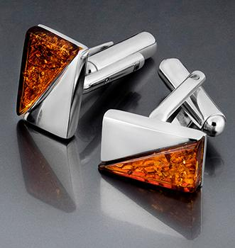 Sterling silver cufflinks with Baltic amber