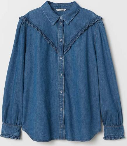 ruffled denim ladies shirt