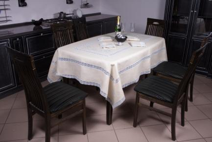 Natural  linen tablecloths  with laces and stitches
