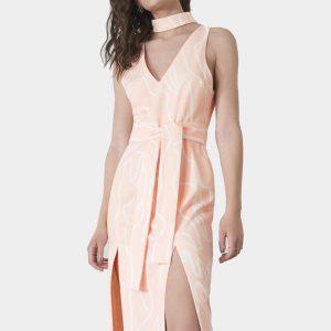 Deep One Shoulder Midi Bodycon Dress multi color