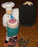 Bäcker mit Torte und Tafel Jacke weiß - Schürze grün...