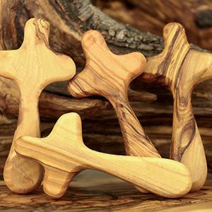 Olive wood carved cross. Holy Land comfort crosses.
