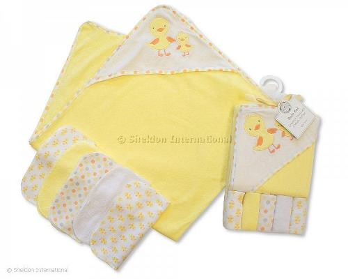 Baby Hooded Towel and Wash Cloth Set - Lemon