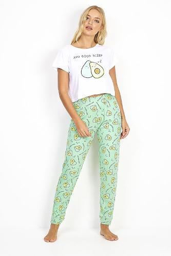 AVOCADO SLOGAN PRINT PYJAMA SET