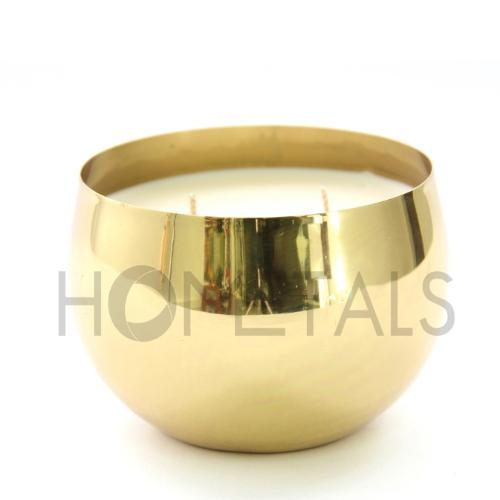Quality fragrance candles in golden candle containers