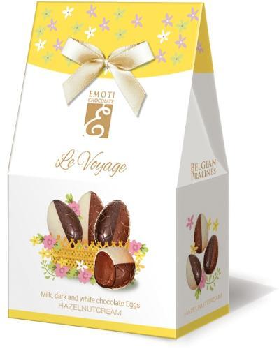 EMOTI Chocolate Eggs Duo with hazelnut filling, 65g (bow dec