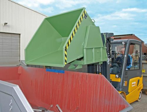 Tilting container, forklift truck attachment