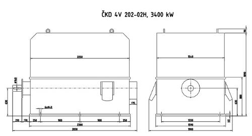 Moteur 3400 kW à vendre - ČKD 4V 202-02H