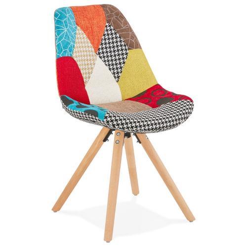 Chaise bohème patchwork en tissu pieds bois MANAO