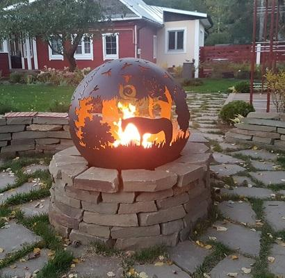 """Fire pit Orb """"Hedgehog in the Fog"""""""