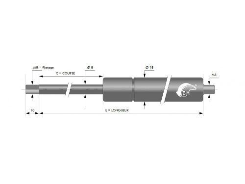 RESSORT A GAZ INOX316 8MM CHAPE FILETEE