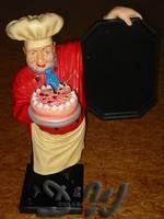 Bäcker mit Torte und Tafel Jacke rot - Schürze gelb...