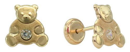 Gold bear stud earring