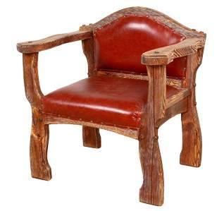 кресло из массива и эко кожи