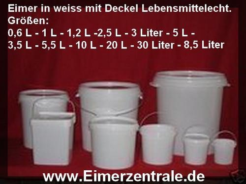 Eimer weiss mit Deckel 600 ml bis 30 Liter