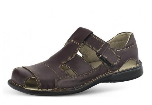 Men's sandals in brown with velcro